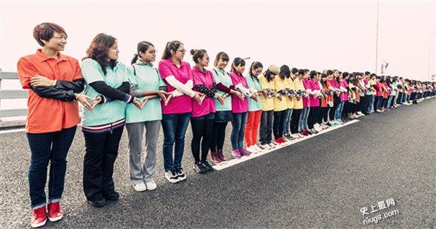 史上最多人做心形手势组成的长链-排约6公里长的星海湾大桥
