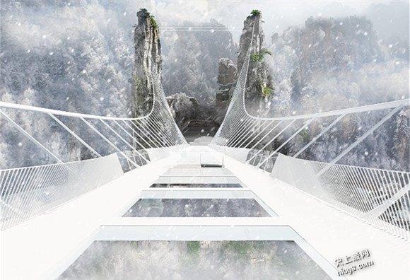 中国张家界大峡谷世界最高最长的玻璃桥